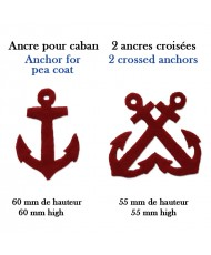 Hand-cut insignias: anchor for pea coat and 2 crossed anchors