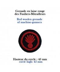 Hand-cut insignias: grenade for machine-gunners sewn on dark blue wool