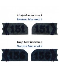 collar tabs for 1915 model jacket made in 2 different horizon blue wool (1 and 2)