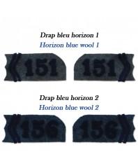 Pattes de col réalisées dans 2 draps bleu horizon différents (1 et 2)