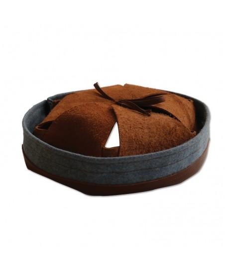 Intérieur deuxième type modèle 1915 cuir marron et bandeau de laine bleu clair