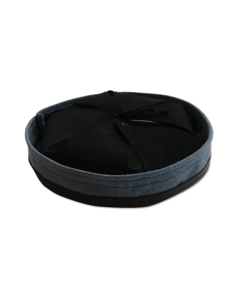 Intérieur deuxième type modèle 1915 cuir noir et bandeau de laine bleu clair